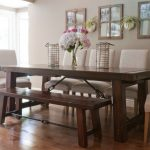 Bench Dining Room Table Wood Floor Flowers Doors Transitional Style Chairs Wall Decor