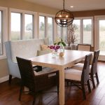 Bench Dining Room Table Wood Floor Pillows Chairs Flowers Windows Door Ceiling Light Chandelier