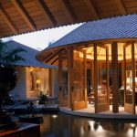 Big Round Gazebo With Stone Bridge, Sliding Glass Doors, Vaulted Wooden Ceiling, Office Room Inside