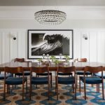blue and brown paint dining room arctic white granite wainscot ceiling wood dining chair arctic pear chandelier