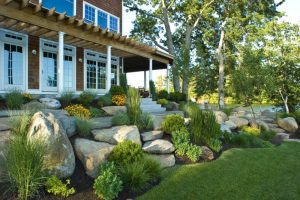 boulders in the slope of the yard