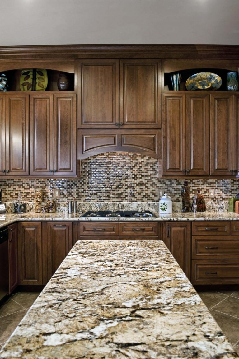 granite high kitchen end wooden traditional using for chandelier timeless elegant brown countertop with layout island