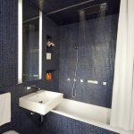 ceiling hung shower curtain bathtub toilet flowers wall storage mirror modern bathroom