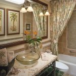 Ceiling Hung Shower Curtain Mirror Faucet Bathtub Tropical Bathroom Wash Basin Lamps Toilet Plants