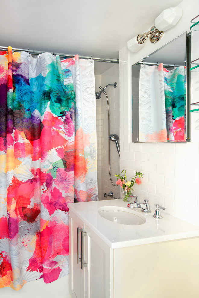 ceiling hung shower curtain mirror wash basin faucet flowers cabinet colorful curtain contemporary bathroom
