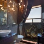 Ceiling Hung Shower Curtain Window Floor Tiles Mirror Chandelier Floral Patterns Faucet Wash Basin Contemporary Bathroom