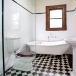 chessboard pattern bathroom tile glass door shower room wooden bathroom raise cabinet wooden framed window