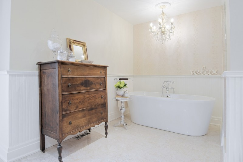 classic bathroom idea with vintage furniture clean white floors clean white walls with rich of texture white bathtub