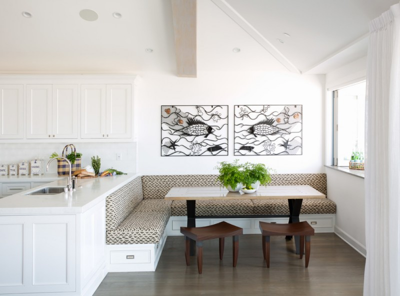 clean white dining nooks wooden chairs light table surface medium toned floor white cabinest walls ceiling curtain