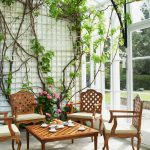 conservatory with climbing plants on the wall, wooden coffee table, wooden chairs with white cushion