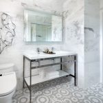 Contemporary Bathroom With Beautiful Mosaic Marble Tiles Placed One By One