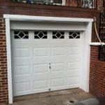 contemporary glass garage window PVC garage door red brick wall