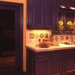 Custom Mediterranean Kitchen Idea With Deep Purple Cabinets Printed Tiles Backsplash Clay Burnt Tiles Floors