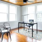 danish home office designs small study room white walls austin design medium tone hardwood floors freestanding desk