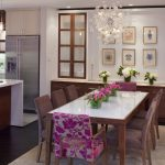 dining cabinet hanging lamps wall cabinets chairs table stove flowers chandelier contemporary room