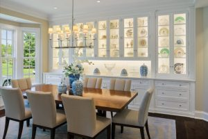 dining cabinet windows chairs table hanging lights drawers cabinets carpet flowers traditional style room
