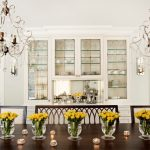 dining chairs table chandeliers traditional style room flowers