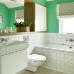 Dressing Room Wall Cabinet Big Mirror Window Toilet Green Walls Faucets Transitional Room Bathtub