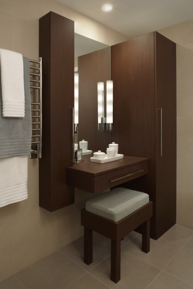 dressing room wall cabinet floor tiles stool mirror long cabinet contemporary style drawer towel rack
