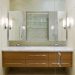 dressing room wall cabinet glass door mirrors shelves contemporary style wall lamps ceiling lights faucets wash basins