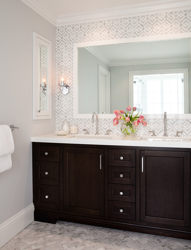 dressing room wall cabinet mirrors lamp transitional room flowers towel rack wash basin faucets