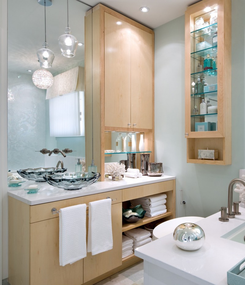 dressing room wall cabinet towel racks glass shelves cabinets mirror lamp faucet cool wash basin contemporary style