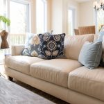 Embroider Floral Pattern Pillows For Light Brown Leather Couch In Soft Tone Design