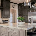 Exodus White Granite Countertop Exoduse Granite Backsplash Floor To Ceiling Dark Cabinet Wood Hood Glass Ceiling Lamps