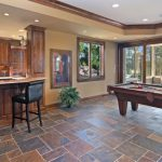 Family Room With Slate Tile Floor With Green Blue Color