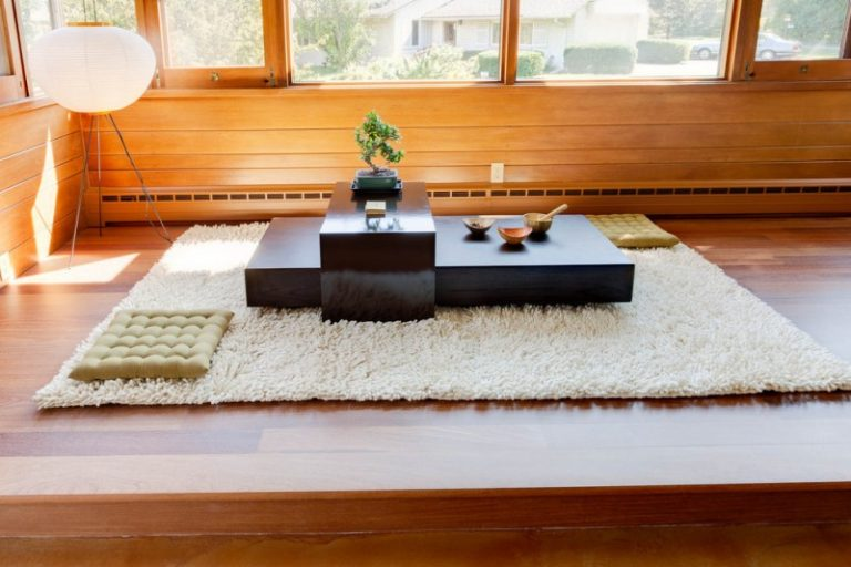 Floor Seating Dining Table Carpet Mat Beautiful Light Big Windows Glass Decorative Plant Wood