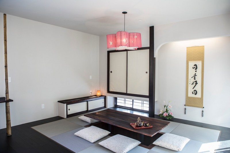 floor seating dining table dark colored table window storage lighting bamboo tatami wall decor