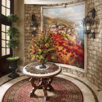 Formal Mediterranean Round Entryway Table Mediteranian Entryway Idea Round Art Piece Of Rug Unique Wall Decoration