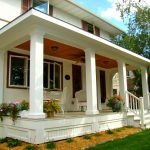 Front Porch With White Exterior Stairs White Exterior Furniture Low And White Skirting Vibrant Red Ceiling