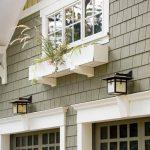 glass garage window wooden garage door shingle siding window box