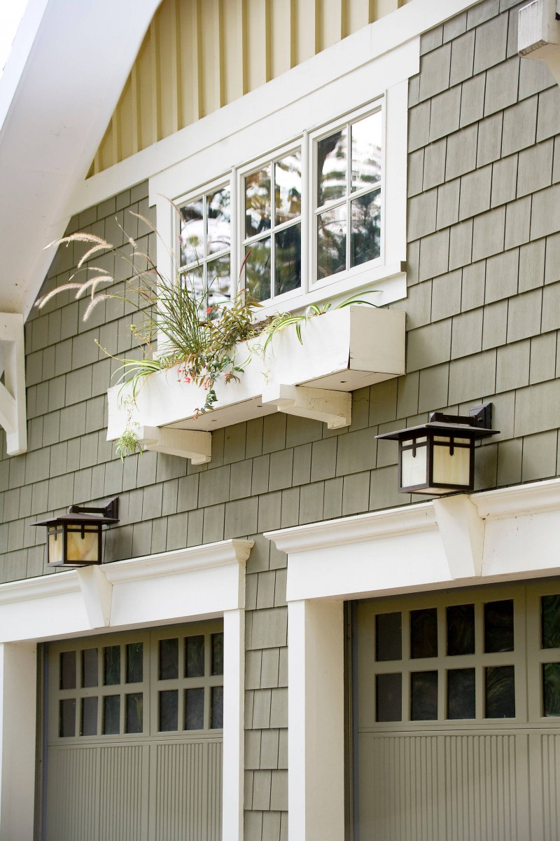 glass garage window wooden garage door shingle siding window box