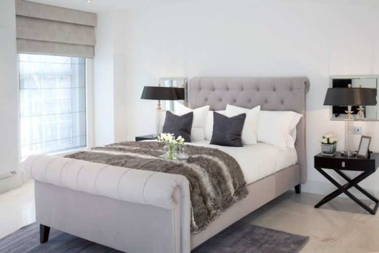 Guest Bed Ideas Small Table Mirror Flowers Big Window Pillows Lamp Transitional  Bedroom Carpet