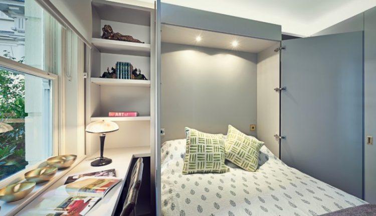 guest bed ideas window door transitional bedroom shelves book pillows lamp