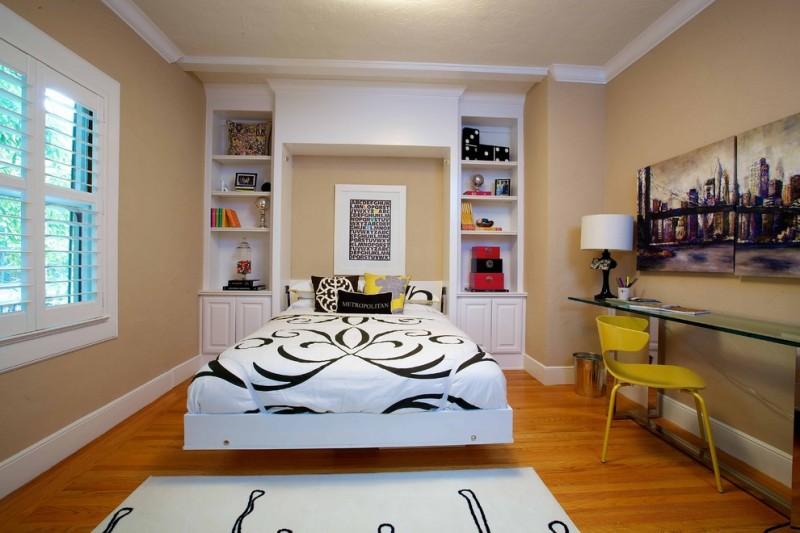 guest bed ideas wood floor window painting chair shelves book eclectic bedroom carpet