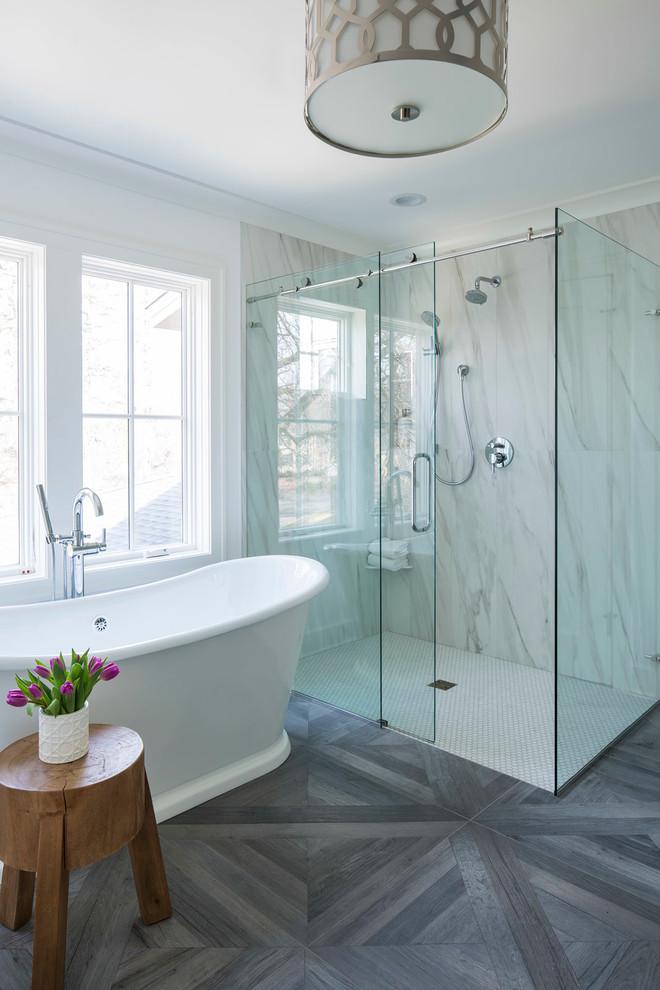 Hexagonal Tiles In Shower Area Porcelain Tub