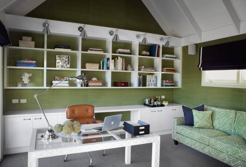 Home Office With Vaulted Ceiling, Green Wall, Grey Flooring, Green Couch,  White