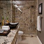 Ice Brown Granite Countertop Brown Granite Wall Glass Shower Door Brown Wall Black Floating Sink