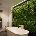 indoor planting idea contemporary bathroom bathtub faucet towel rack painting plants ceiling lamp