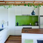 indoor planting idea contemporary kitchen lamp overhead plants wood floor dining chairs stove cabinets