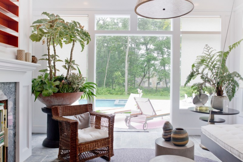 indoor planting idea contemporary living room seating with wheels chair urn plant table windows