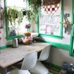 indoor planting idea eclectic dining room chairs carpet table windows plants foods green white red