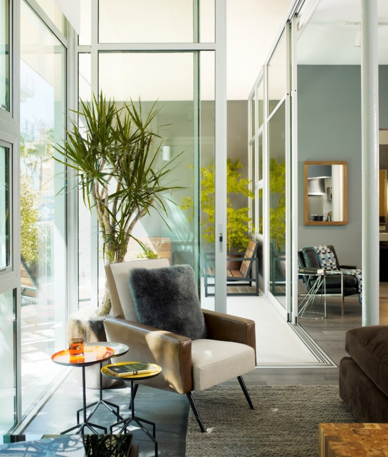 indoor planting idea modern living room chair small tables carpet glass door chairs modern furniture