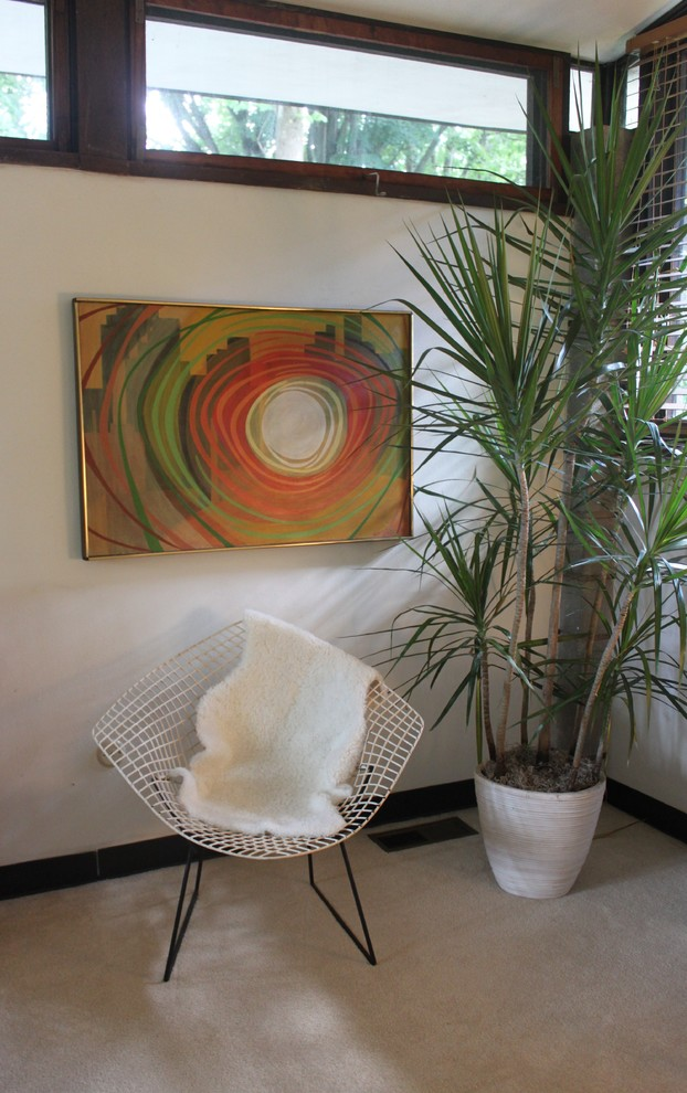 indoor planting idea windows madagascar dragon trees pot painting chair mid century bedroom