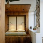Integrated Wood Bed Design For Japanese Styled Bedroom Ceiling Fan A Pair Of Modern Night Lamps