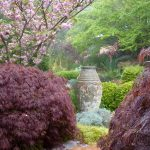 japanese garden exhibition model cherry blossoms purple leaves urn plants traditional landscape
