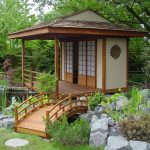 japanese garden exhibition model pond stones grass small bridge trees tea house asian building sliding doors